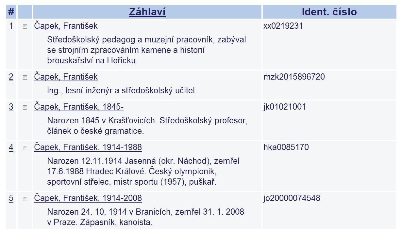 Obr. 2: Příklad záznamů jmenných autorit a jejich identifikátorů (zdroj: https://aleph.nkp.cz/cze/aut, získáno 2019-02-27)