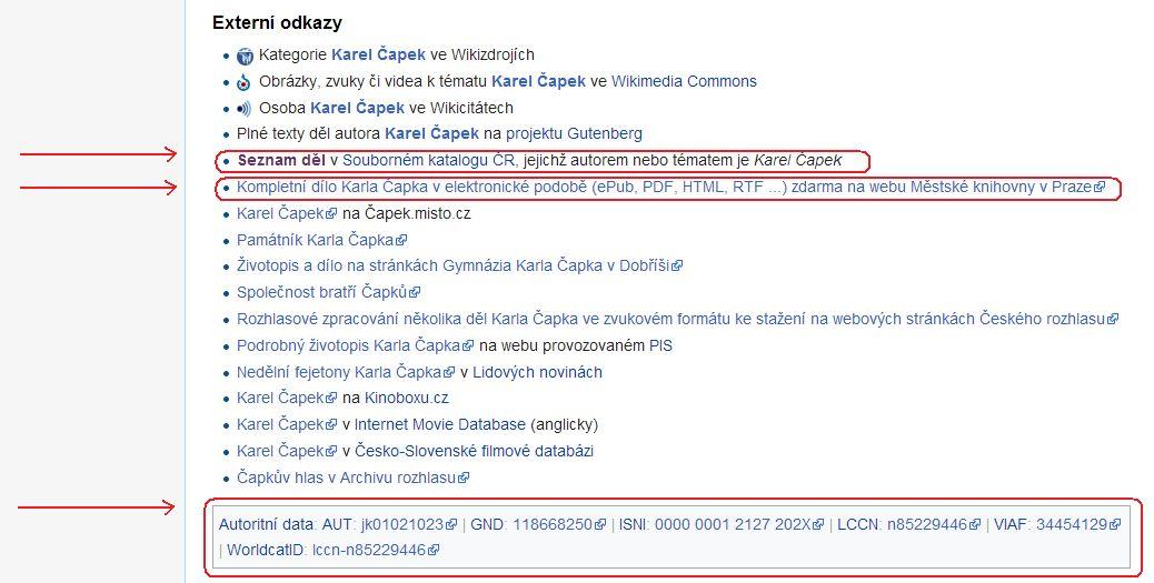 Obr. 3: Ukázka využití autoritního záznamu na Wikipedii k propojení různých webových služeb (zdroj: https://cs.wikipedia.org/, získáno 2019-02-10)