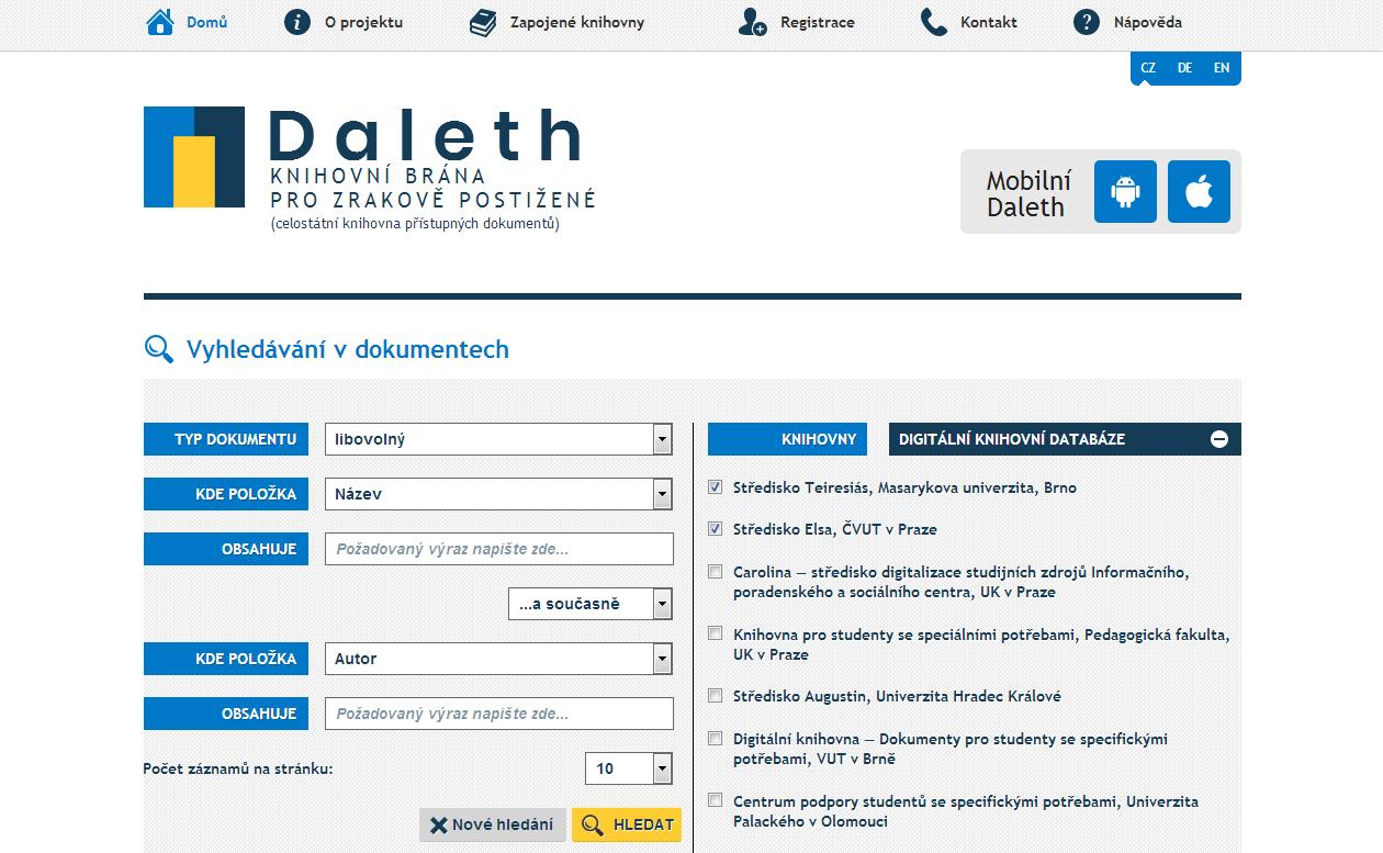 Obr. 8: Vstupní stránka portálu Daleth (zdroj: https://www.teiresias.muni.cz/knihovni-brana/, získáno 2019-03-18)