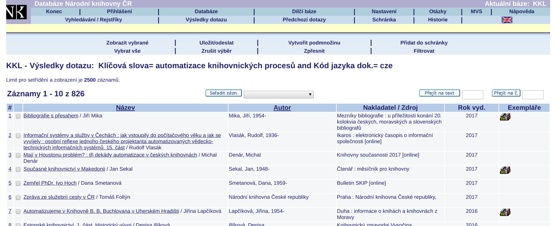 Obr. 2: Získané výsledky (zdroj: https://aleph.nkp.cz/cze/kkl, získáno 2018-09-05)