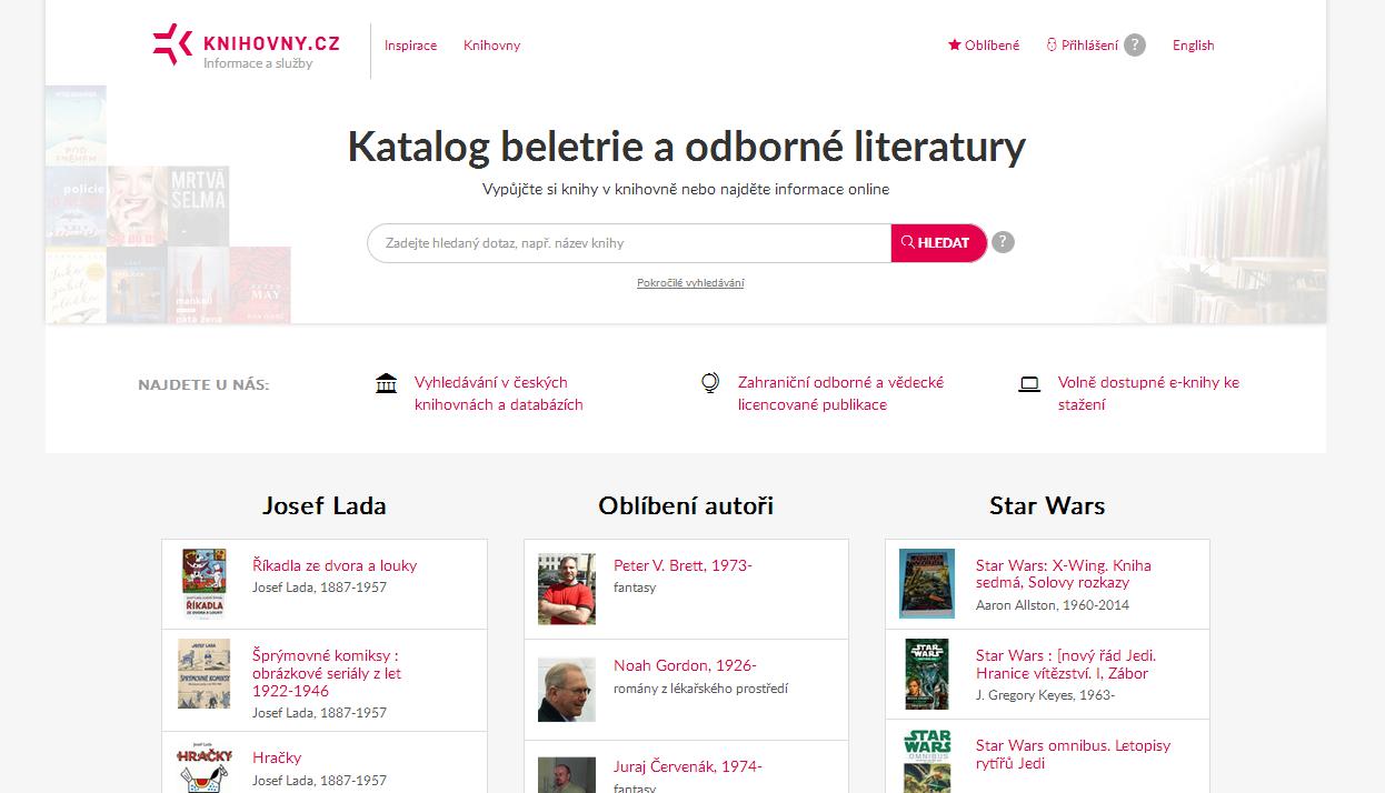 Obr. 5: Vstupní stránka portálu Knihovny.cz (zdroj: https://www.knihovny.cz/, získáno 2019-03-18)