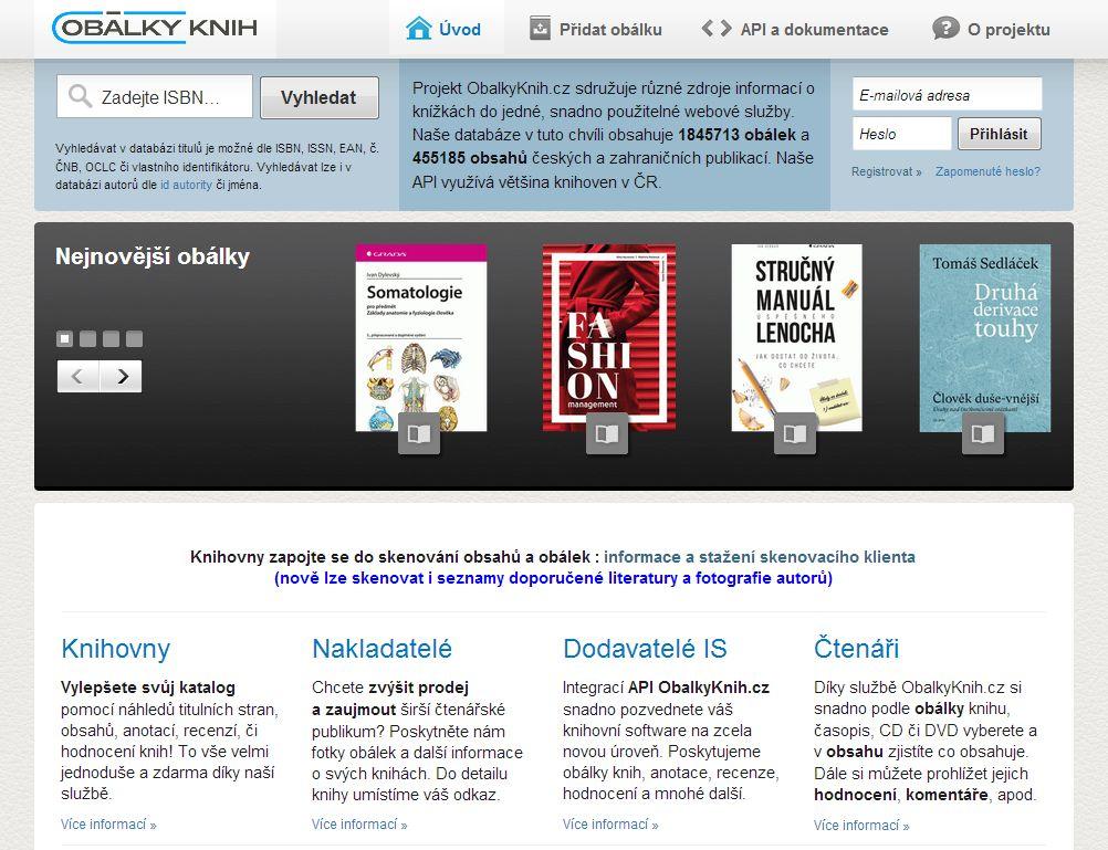 Obr. 4: Úvodní stránka služby ObalkyKnih.cz (zdroj: http://www.obalkyknih.cz/, získáno 2019-02-10)