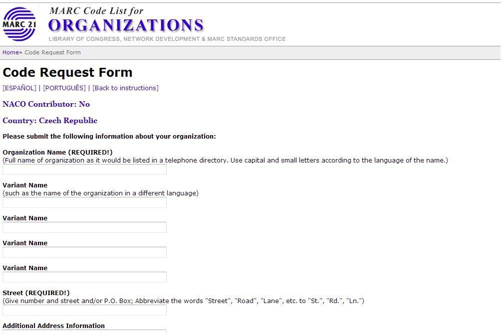 Obr. 2: Formulář žádosti o přidělení kódu agentury (zdroj: http://www.loc.gov/, získáno 2019-01-08)