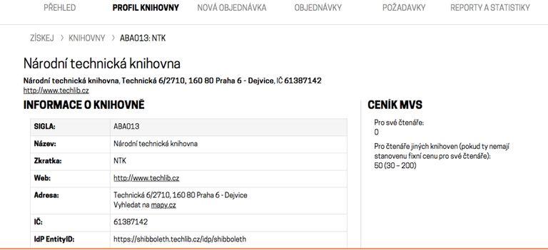 Obr. 7: Profil knihovny ve službě ZÍSKEJ (zdroj: https://ziskej-info.techlib.cz/info-pro-knihovny, získáno 2019-03-18)