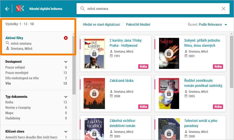 NDK - hledání knih podle autora - filtr Autor