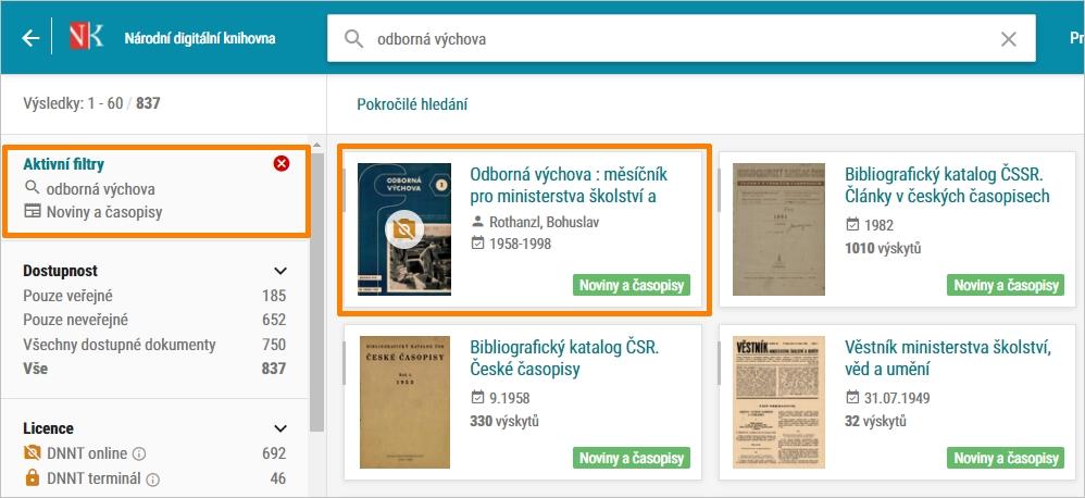 NDK - hledání periodik, upřesnění pomocí Typu dokumentu