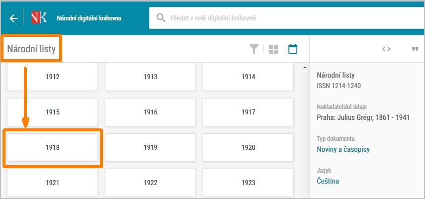 NDK - přehled ročníků Národních listů