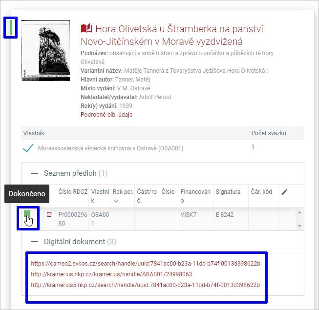 Registr digitalizace - detail