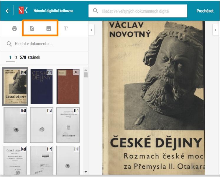 NDK - ikony pro stažení JPG a vytvoření PDF u veřejného díla