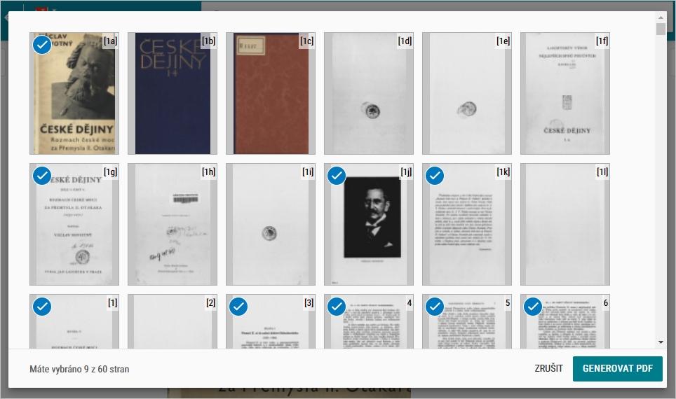 výběr stran do pdf u veřejného díla v NDK
