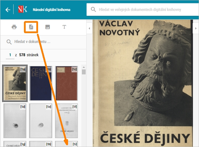 vytvoření PDF z veřejného díla v NDK