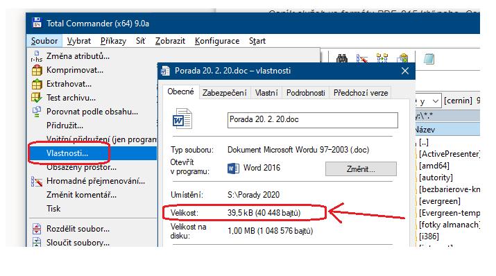 Obr. 7: Informace o velikosti souboru v programu Total Commander