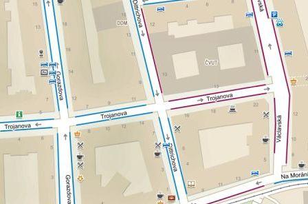 Obr. 3: Mapa s parkovacími zónami, jak ji vidí běžný uživatel webu
