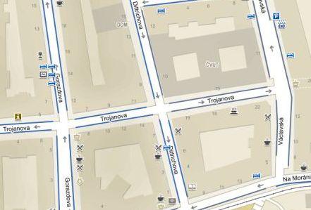 Obr. 4: Mapa s parkovacími zónami, jak ji vidí uživatel webu s poruchou vnímání červené barvy