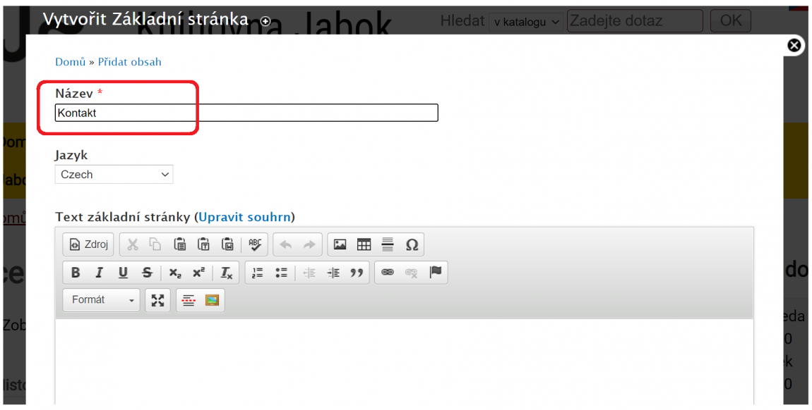 Obr. 2: Příklad zadání názvu stránky v editačním poli formuláře pro tvorbu stránky