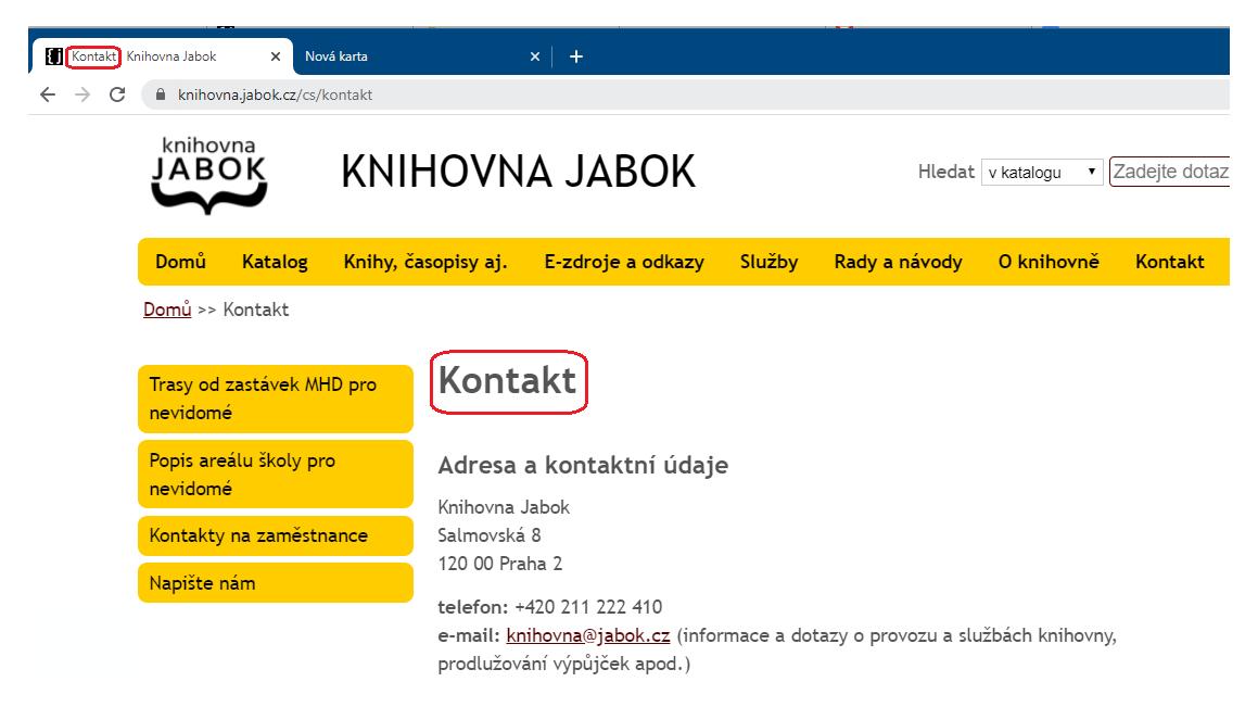 Obr. 1: Zobrazení názvu stránky v nadpisu stránky a v názvu karty prohlížeče