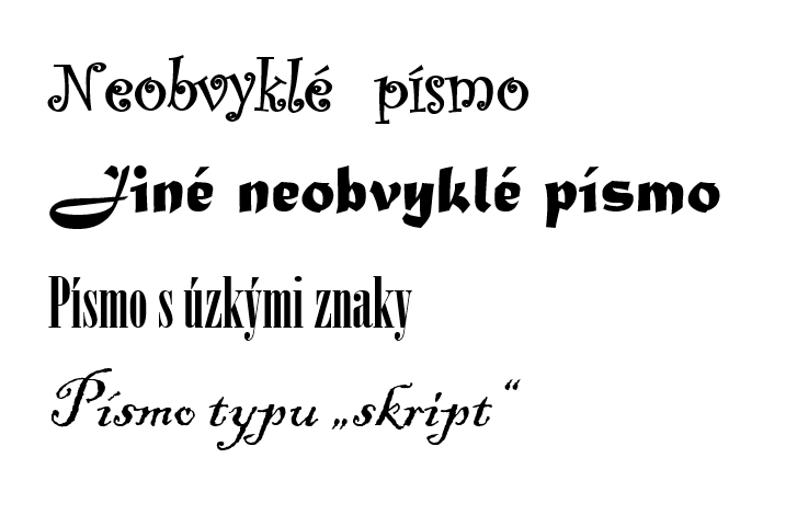 Ukázka neobvyklých typů fontů, kterým je vhodné se na webu vyhnout