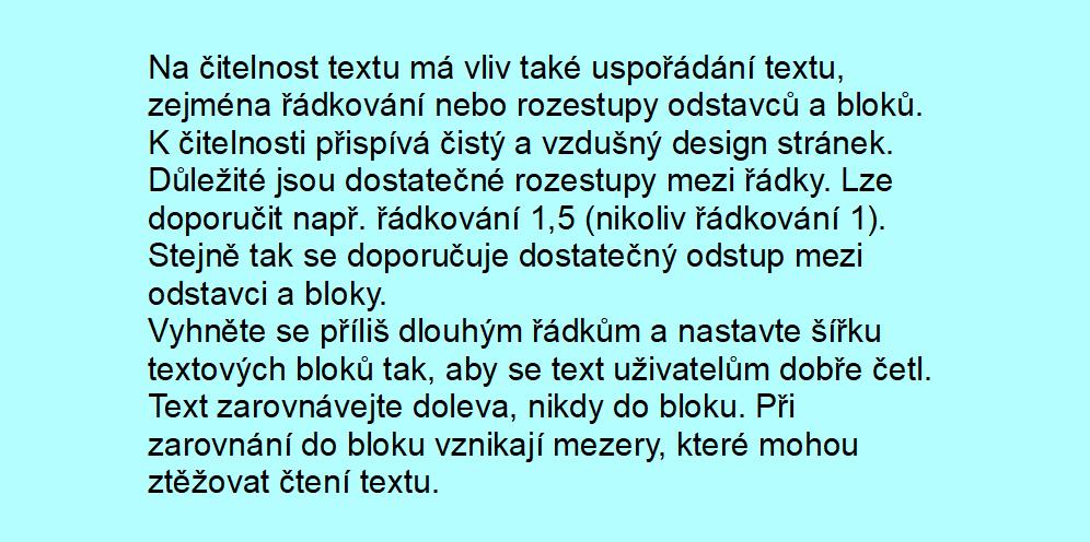 Obr. 3: Text s malým rozestupem mezi řádky a odstavci