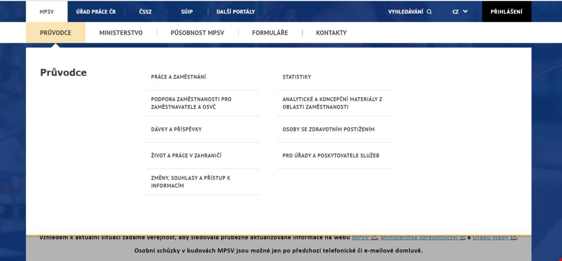 Obr. 1: Menu na webu Ministerstva práce a sociálních věcí ČR