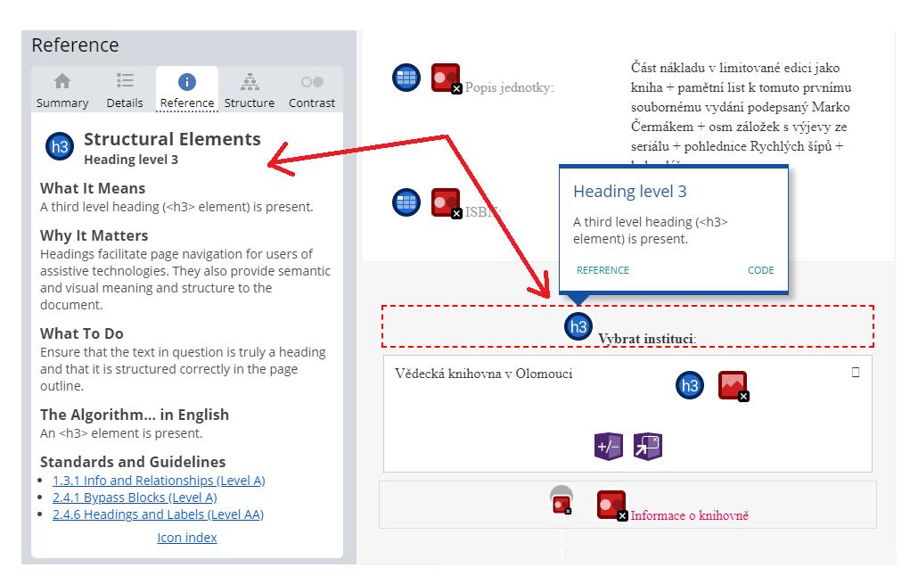 Obr. 5: Ukázka reference k nadpisům webové stránky