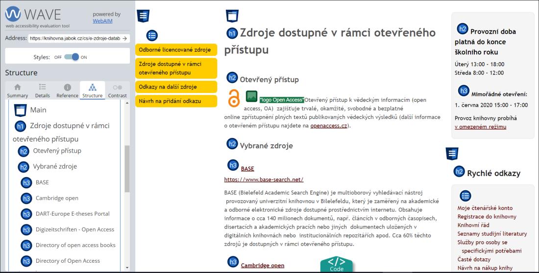Obr. 1: Část výstupu hodnocení stránky Knihovny Jabok pomocí validátoru WAVE s vyznačenou hierarchií nadpisů