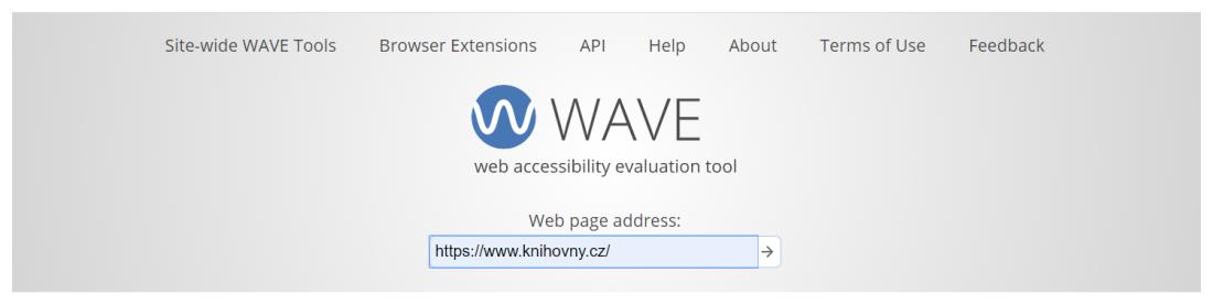 Obr. 1: Vstupní stránka validátoru přístupnosti WAVE