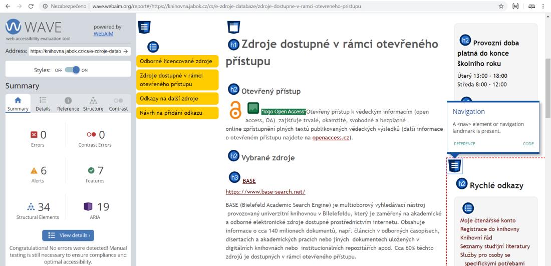 Obr. 2: Rozhraní validátoru WAVE na příkladu webu Knihovny Jabok