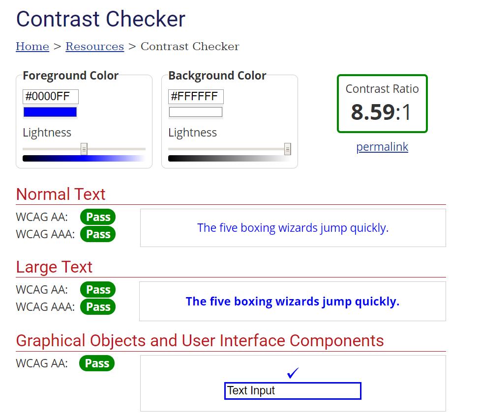 Obr. 1: Rozhraní nástroje WebAIM Contrast Checker