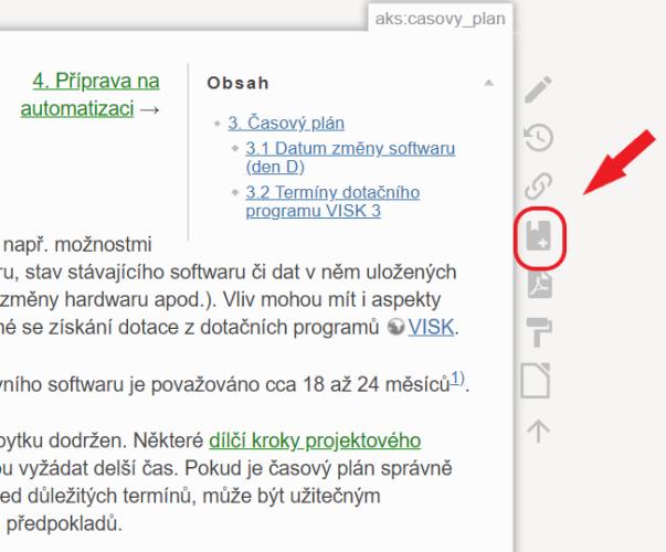 """Obr. 2: Ikona """"Přidat do knihy"""" na pruhu s ikonami na pravé straně rozhraní"""